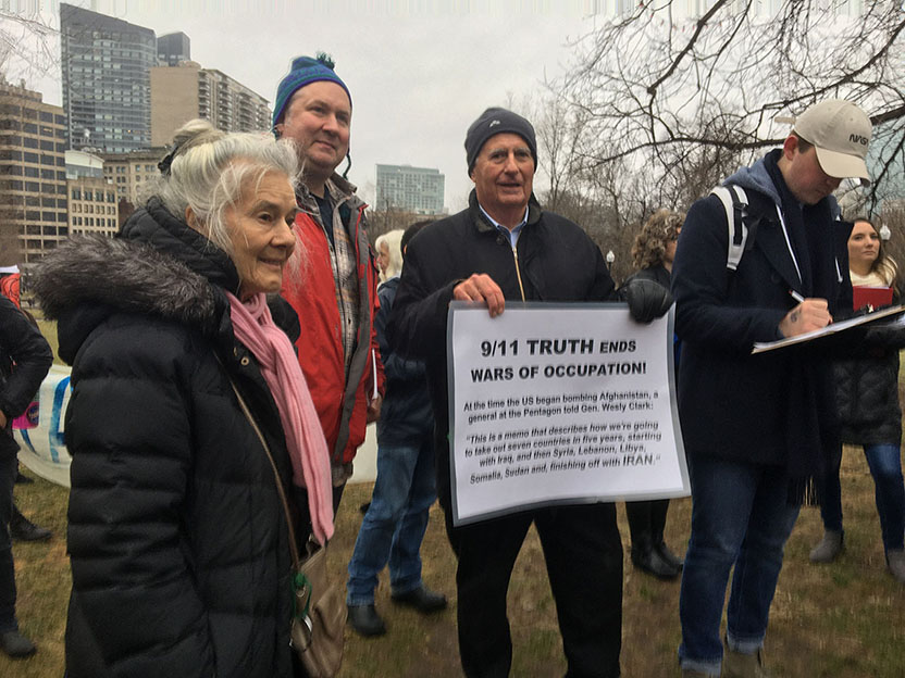 Boston 9/11 Truth at the anti war rally on January 25, 2020